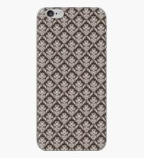 Brown and White Damask iPhone Case