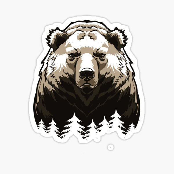 Grizzly bear in the forest Sticker