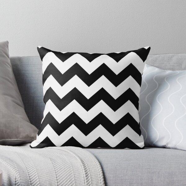 Black And White Chevron Stripes Throw Pillow