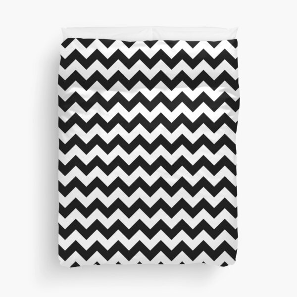 Black And White Chevron Stripes Duvet Cover