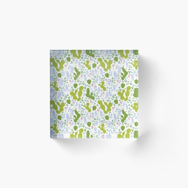 Bluebonnets and Cacti Acrylic Block
