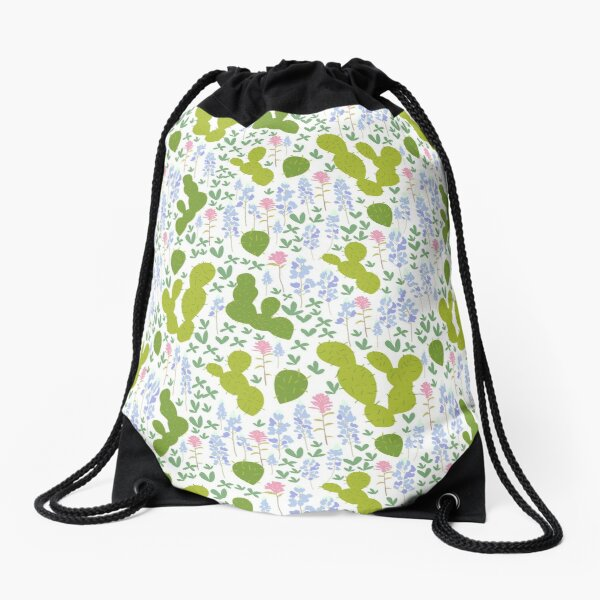 Bluebonnets and Cacti Drawstring Bag
