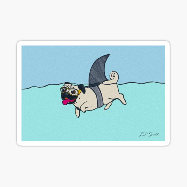 Shark Pug Sticker