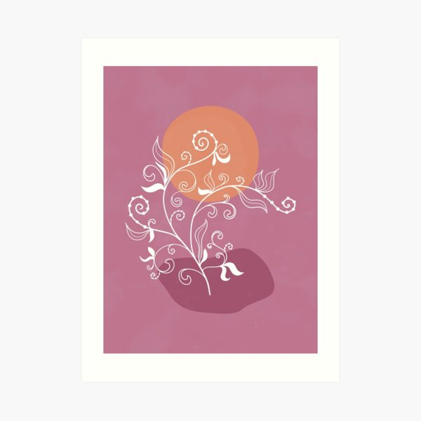 Abstract pink landscape with a swirly flower design with an orange sun  Art Print
