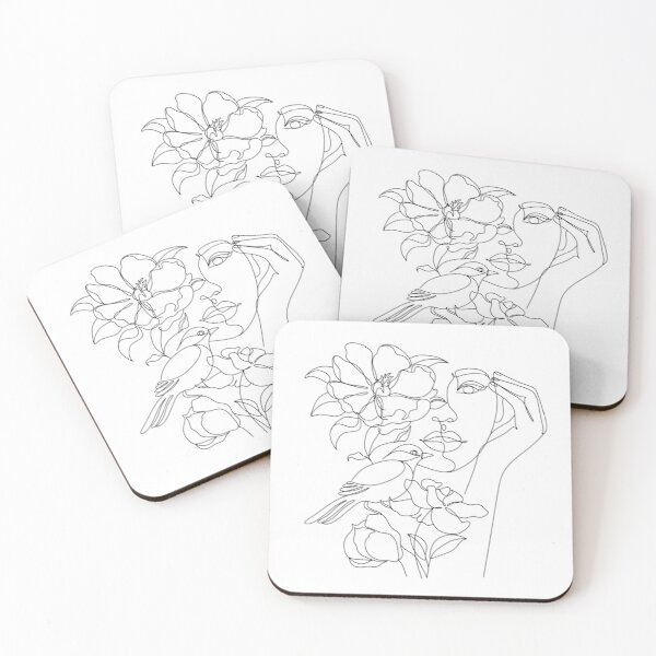 Flower in woman head. Line illustration. Line drawing. One line. Nature face. Nature cosmetics. Flower icon. Minimalist print. One Line Black White Drawing Artwork, Minimalist Couple Art, Minim Coasters (Set of 4)