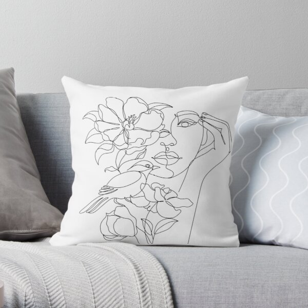 Flower in woman head. Line illustration. Line drawing. One line. Nature face. Nature cosmetics. Flower icon. Minimalist print. One Line Black White Drawing Artwork, Minimalist Couple Art, Minim Throw Pillow
