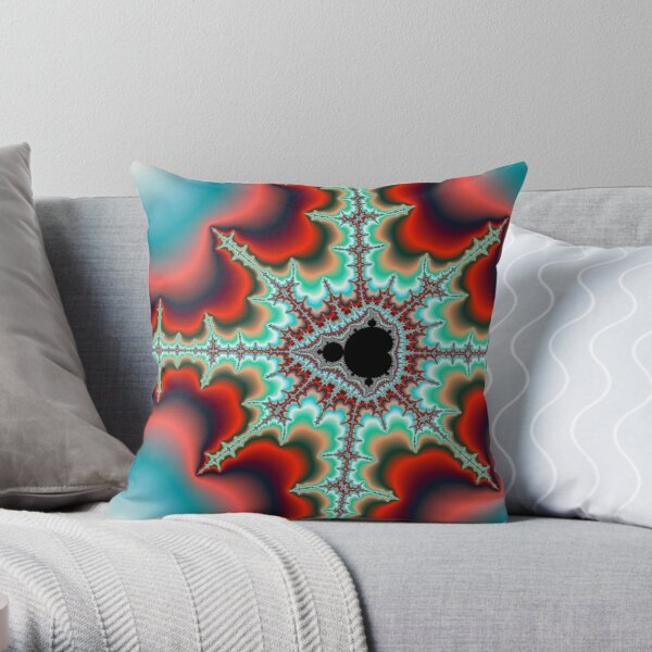 Mandelbrot Fractal with Bright Neon Colored Spikes Throw Pillow