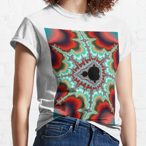 Mandelbrot Fractal with Bright Neon Colored Spikes Classic T-Shirt