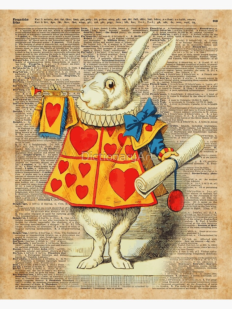 ART PRINT ON ORIGINAL ANTIQUE DICTIONARY BOOK PAGE Alice in Wonderland Picture