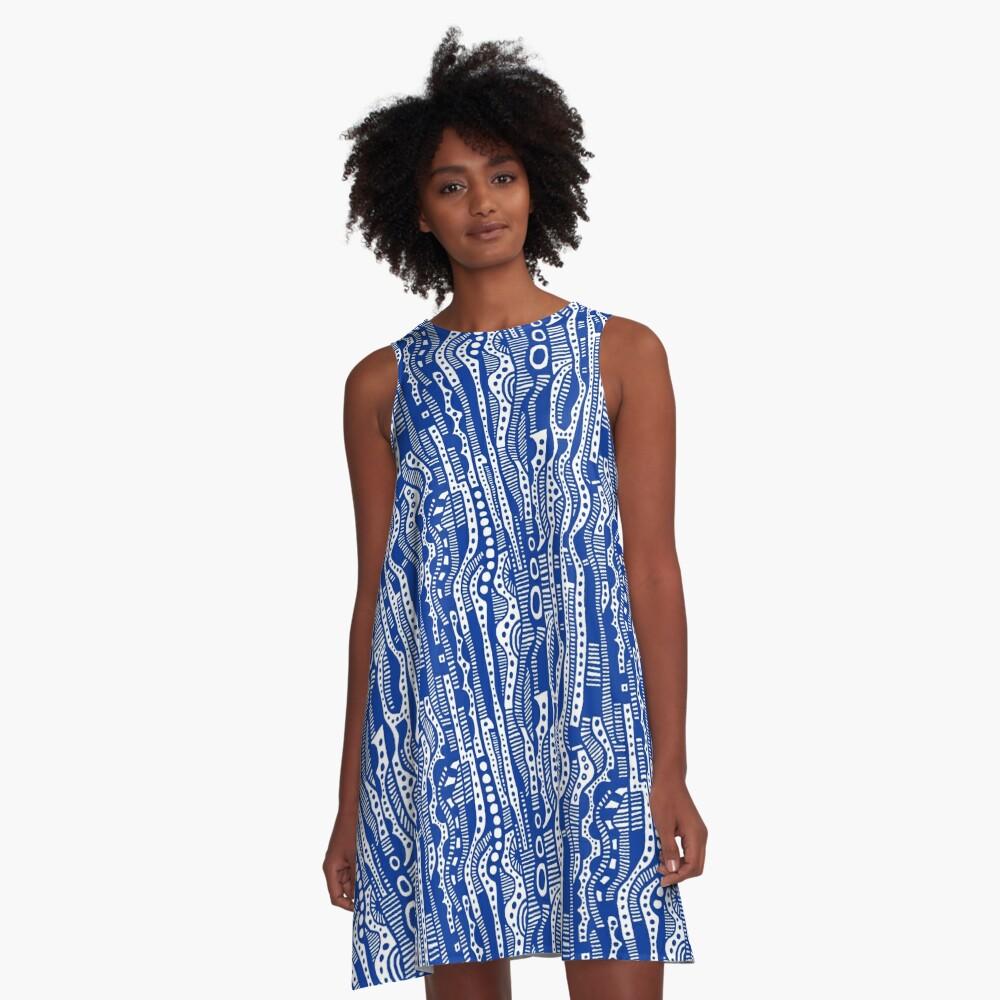 120115 - Navy Blue A-Line Dress Front