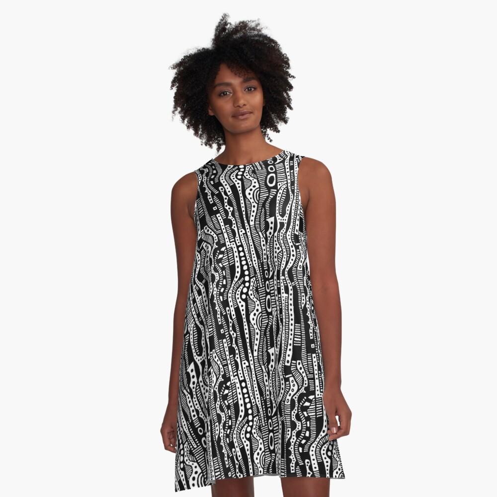 120115 - Black A-Line Dress Front