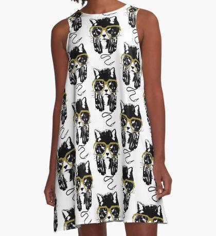 Hip Hop Angry Cat Design A-Line Dress
