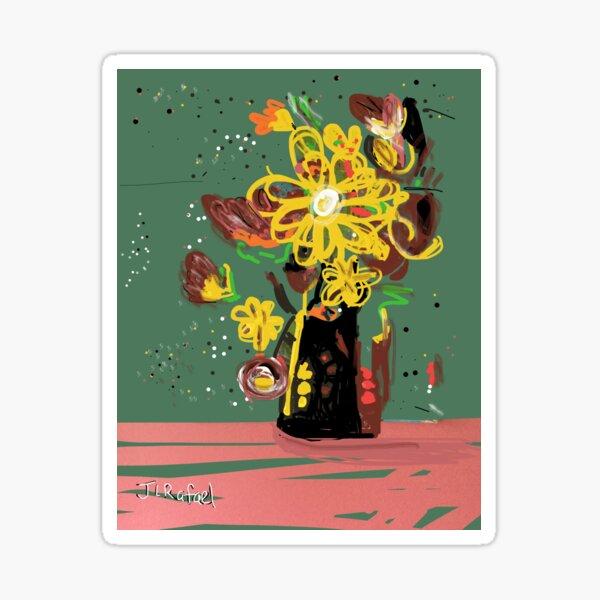 Crazy Flowers Yellow Sticker