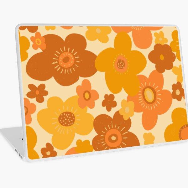 Groovy 70s Retro Vintage Floral Pattern  Laptop Skin