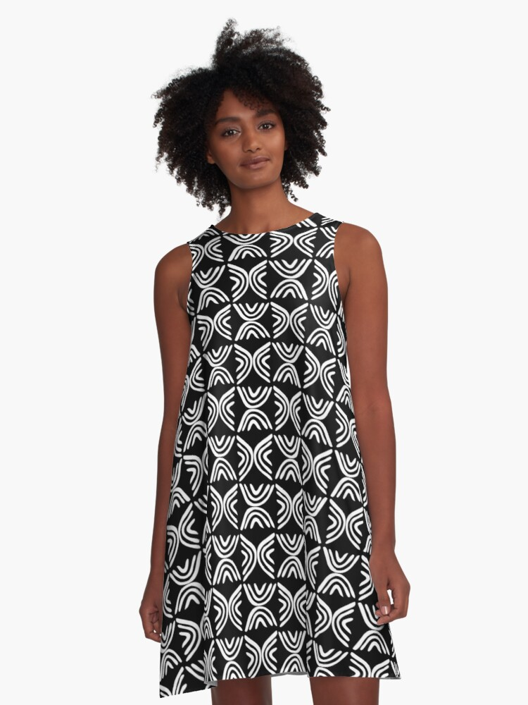 Mud Cloth Style 080215 - White on Black A-Line Dress Front