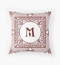 "Red Scrolls With ""M"" Monogram  Throw Pillow"