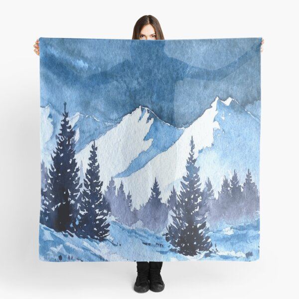 Snowy Mountains Painting Scarf