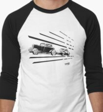 1932 Ford and 1941 Willys HotRods - Pen and Ink Men's Baseball ¾ T-Shirt