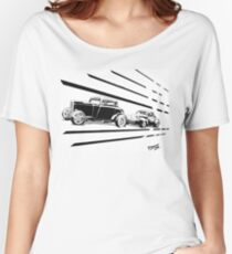 1932 Ford and 1941 Willys HotRods - Pen and Ink Women's Relaxed Fit T-Shirt