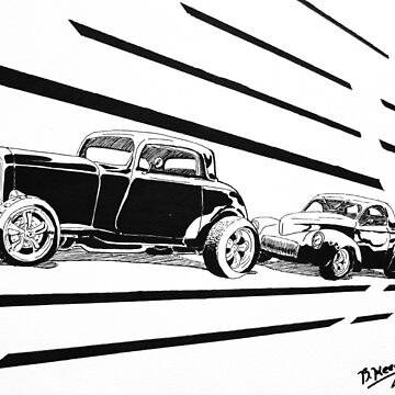 1932 Ford and 1941 Willys HotRods - Pen and Ink by RustedStudio