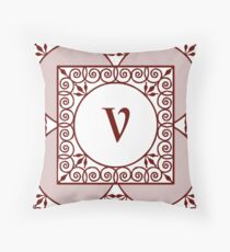 "Red Scrolls With ""V"" Monogram  Throw Pillow"
