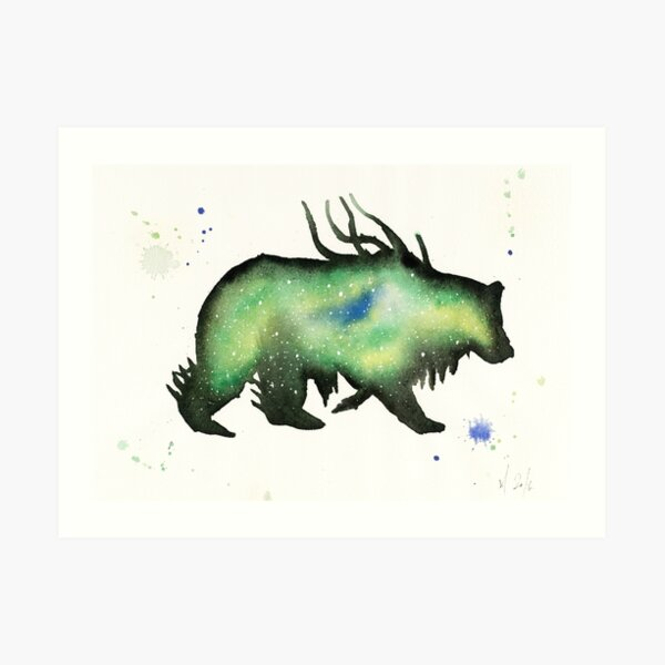 Green Nebula Bear Art Print