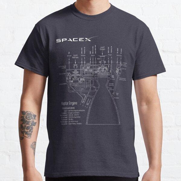 SpaceX Raptor Engine Technical Blueprint  Classic T-Shirt