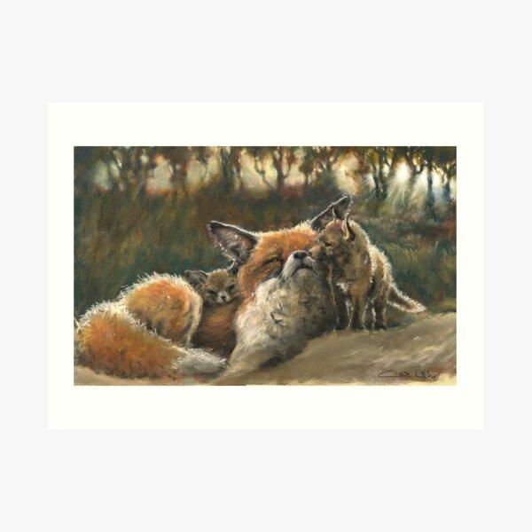 Vixen and her cubs Art Print