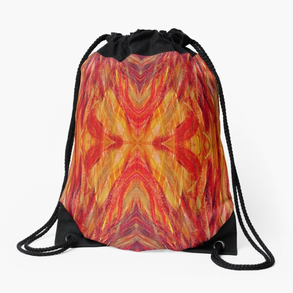 Abstract of fire and flames Drawstring Bag