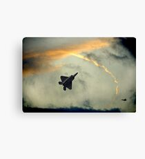 F-22 Raptors-Fighter Jets In A Troublesome Sky Canvas Print