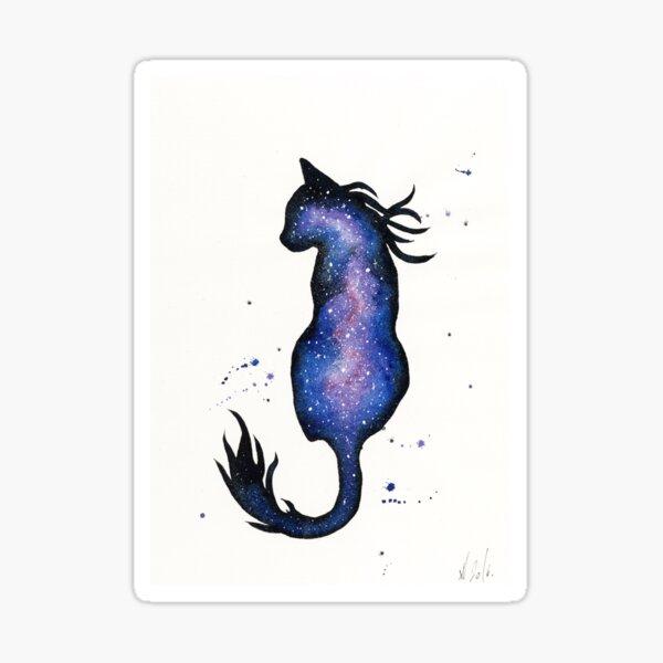 Purple Nebula Cat Sticker
