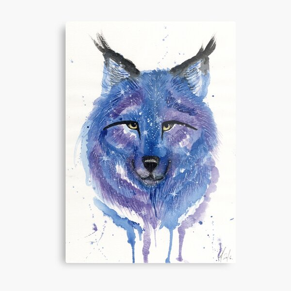 Purple Galaxy Wolf Metal Print