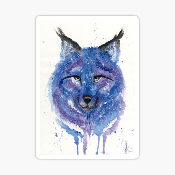 Purple Galaxy Wolf Sticker