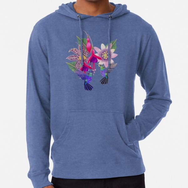 Hummingbird floral with fuchsia, raspberry mousse toad lily and passion flower, A I Aqua background Lightweight Hoodie