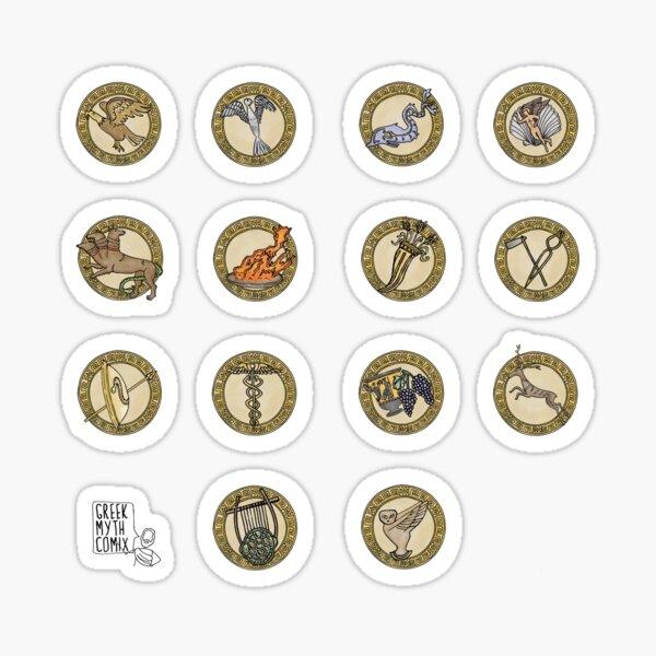 Greek Myth Comix - The Olympian Gods sacred symbols COLOUR Sticker