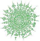 Heart Centred Mandala - green print by TangerineMeg
