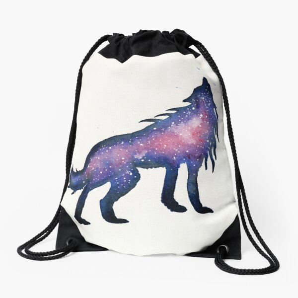 Purple Nebula Wolf  Drawstring Bag