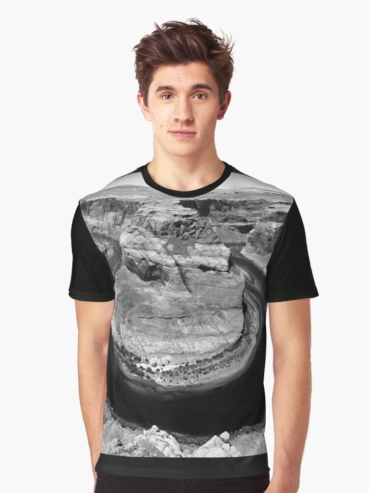 Horseshoe Bend in Black & White Graphic T-Shirt Front