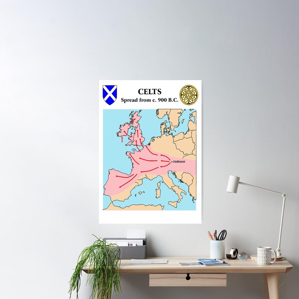 Celtic Hallstatt warrior migration map, starting 900 BC Poster