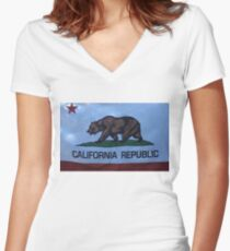 California Republic Women's Fitted V-Neck T-Shirt