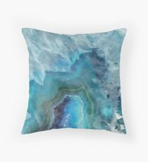 Blue Watercolor Agate Geode Print Throw Pillow