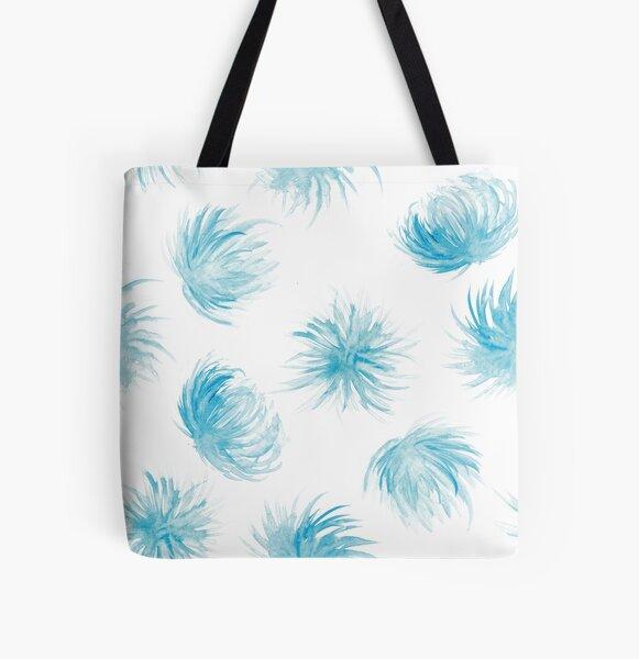 Rain flowers watercolor pattern All Over Print Tote Bag