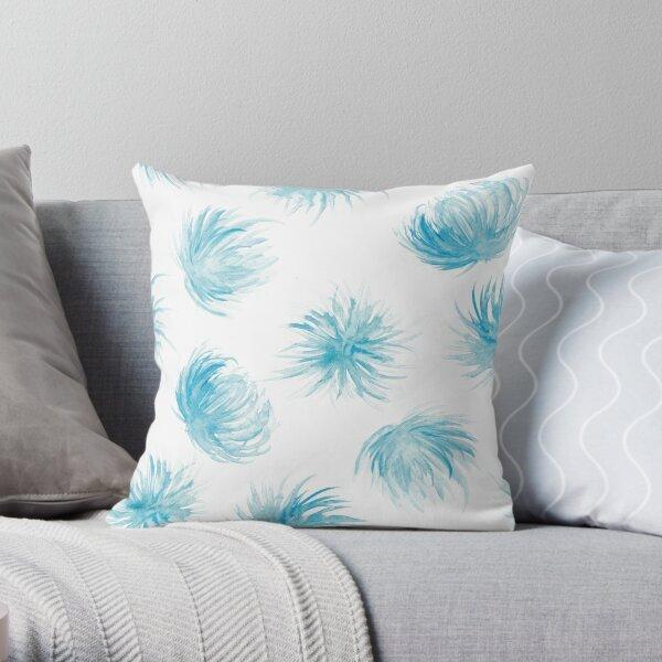 Rain flowers watercolor pattern Throw Pillow