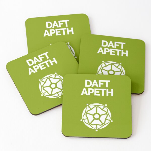 Yorkshire dialect Daft Apeth Coasters (Set of 4)