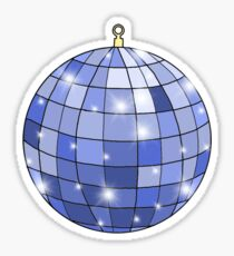 sparkly blue disco ball Sticker
