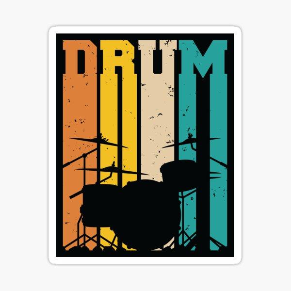 Retro Drum Set Silhouette Illustration Sticker