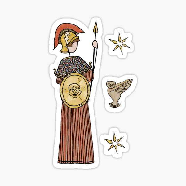 Greek Myth Comix - Athene and her owl Sticker