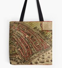 Amsterdam Vintage map.Geography Netherlands ,city view,building,political,Lithography,historical fashion,geo design,Cartography,Country,Science,history,urban Tote Bag