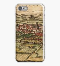 Barcelona Vintage map.Geography Spain ,city view,building,political,Lithography,historical fashion,geo design,Cartography,Country,Science,history,urban iPhone Case/Skin