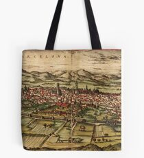 Barcelona Vintage map.Geography Spain ,city view,building,political,Lithography,historical fashion,geo design,Cartography,Country,Science,history,urban Tote Bag